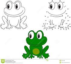 cartoon frog vector illustration coloring and dot to dot game