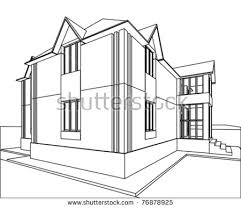 abstract sketch house 3d vector architecture stock vector 78655372