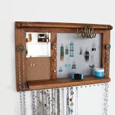 wooden wall hanging jewelry rack wooden wall hanging jewelry shelf with mirror