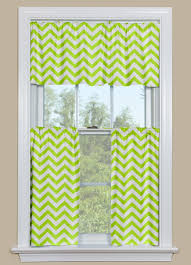 Modern Cafe Curtains Modern Kitchen Or Bath Window Curtains Chevron Pattern In Green