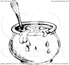 halloween coldren background clipart of a sketched black and white boiling witch cauldron