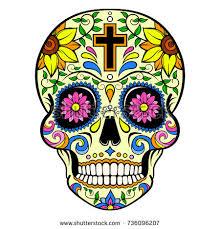 day dead sugar skull floral ornament stock vector 323152868