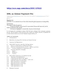 sap fi xml as global payment file invoice payments