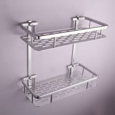 Bathroom Storage Shelves With Baskets by Kes Bathroom Aluminum Storage Shelf Basket With Hooks Wall Mounted