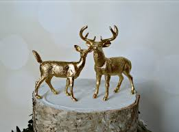 buck and doe cake topper gold deer wedding cake topper fall deer wedding groom s cake buck