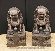 foo dog statues pair xl bronze foo dogs keiloon