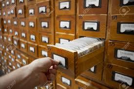 Vintage Library Card File Cabinet Database Concept Vintage Cabinet Human Hand Opens Library Card