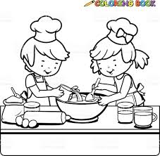 children cooking coloring book page stock vector art 533190981