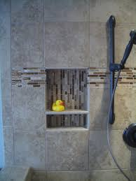 Corian Shower Shelf Two Section Opens Shelf On Shower Room With Glass Mosaic Inside