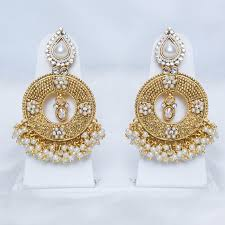 heavy diamond earrings white chandbali earrings with pearl