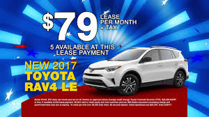 toyota lease 2017 toyota rav4 le 79 lease per month youtube