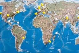 Map A Trip Image Of Thumb Tacks In Various Locations On World Map Freebie