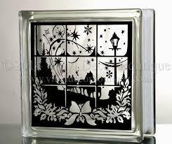 dashing through the snow glass block decal tile mirrors diy