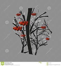rowan tree and silhouette of the stock illustration