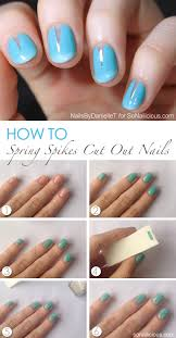 spring nails with cut out spikes tutorial