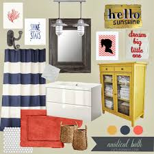 nautical bathroom ideas red rug yellow cabinet navy white