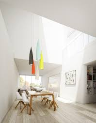 Dining Room Scandinavian Open Plan Dining Space Features Skylights