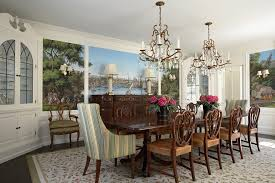 Chandelier Wine Glass Long Crystal Chandelier Dining Room Transitional With Flowers