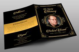 funeral program classic black gold funeral program brochure templates creative