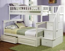 White Twin Over Full Bunk Bed With Stairs Home Design Styles - Stairway bunk bed twin over full