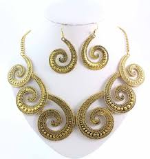 gold chunky necklace images Octopus statement necklace with earrings brass gold tone jpg