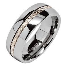 Mens Tungsten Carbide Wedding Rings by 8mm Men U0027s Tungsten Carbide Ring Silver Inlay Wedding Band