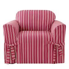 Slipcovered Arm Chair Sure Fit Grain Sack Stripe Box Cushion Armchair Slipcover