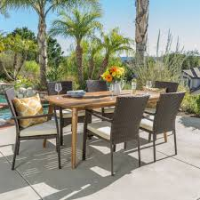 7pc Patio Dining Set 7pc Outdoor Dining Set W Cushions Noble House Furniture