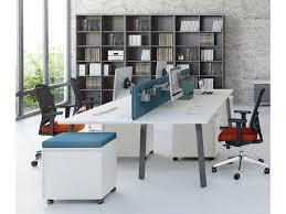 design bureau de travail bureau en îlots 4 postes de travail 160 cm bouleau clair ogi a