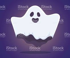 vector halloween illustration of white flying ghost with eyes m