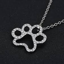 white crystal necklace images Silver plated black and white crystal rhinestone dog paw necklace jpg
