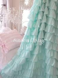 Ruffled Curtains Pink Shabby Beach Cottage Chic Aqua Dreamy Ruffled Curtain Drape Panel
