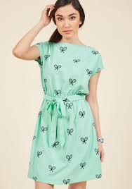 pepaloves what u0027s all the racket a line dress in mint modcloth