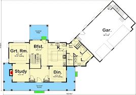 Floor Plans With 3 Car Garage Modern Farmhouse With Angled 3 Car Garage 62668dj