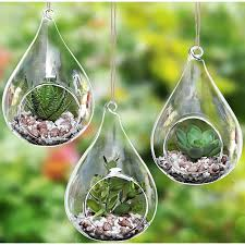 amazon com set of 3 teardrop design hanging glass faux succulent