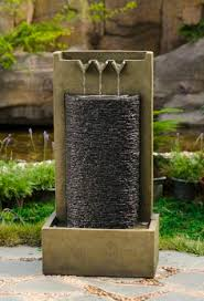 small solar powered water feature three granite spheres with led