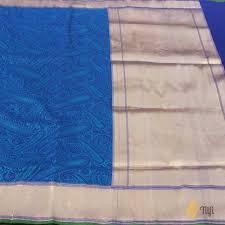 Buy Royal Blue Pure Silk Peacock Blue Royal Blue Pure Katan Silk Banarasi Handloom Saree