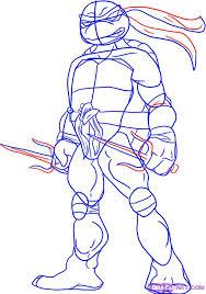 draw raphael from teenage mutant ninja turtles step by step