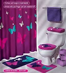 Amazon Com Modern Teen Girls by Amazoncom Purple Pink Butterfly Mat Rug Bath Set 5 Pcs In