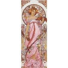 pattern art pdf counted cross stitch pattern mucha lady in pink art nouveau pdf