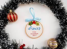 baby u0027s 1st christmas ornament customized mistletoe