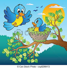 two blue birds with tree branch vector illustration vectors
