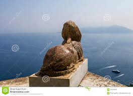 Capri Italy Map by Sphinx Statue Over Capri Island Capri Italy Stock Photo Image