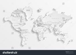 Image Of World Map Political Map World Gray World Mapcountries Stock Vector 566272642