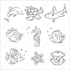 sea life sketch set royalty free cliparts vectors and stock