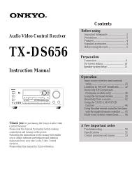 onkyo tx ds656 user manual 56 pages