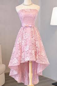 dress pink homecoming dress beautiful pink lace asymmetrical prom
