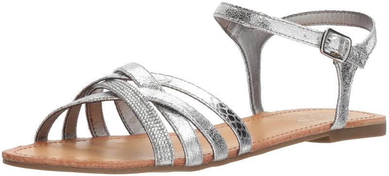 Kenneth Cole Just New Silver Ankle Strap Flats