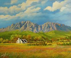 Mountain Landscape Paintings by South Africa Cape Mountains Painting By Don Bell Isopod An