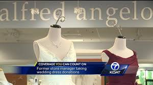 wedding dress donations former alfred angelo store manager collecting wedding dress